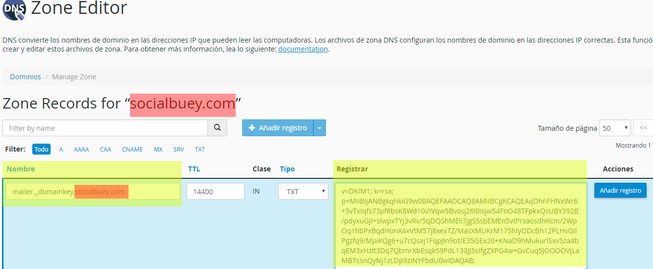 CPANEL7 Configuracion DKIM